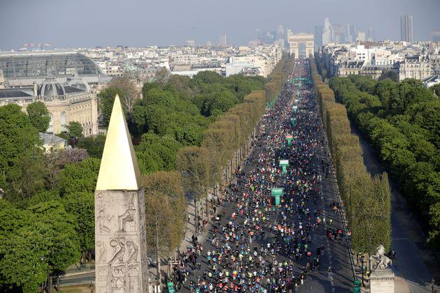 Lors du marathon de Paris, le 14 avril