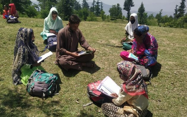 An open-air community school in Baramulla district in