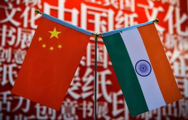 The national flags of India and China seen at the Delhi World Book fair on January 9,