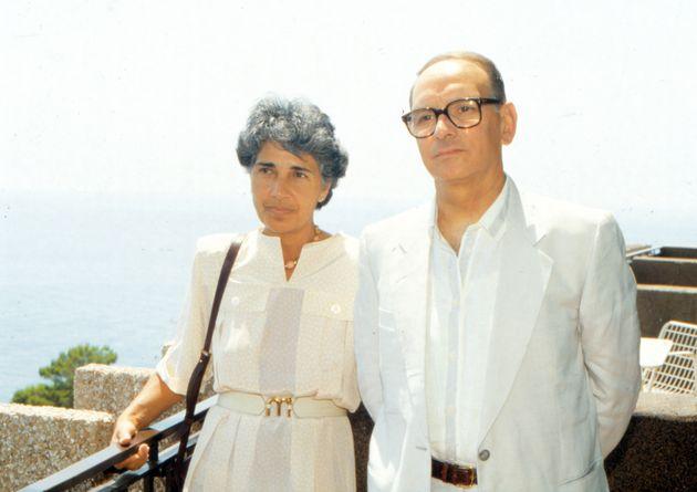 Italian composer and musician Ennio Morricone with his wife Maria Travia. 1980s (Photo by Archivio Apg/Mondadori...