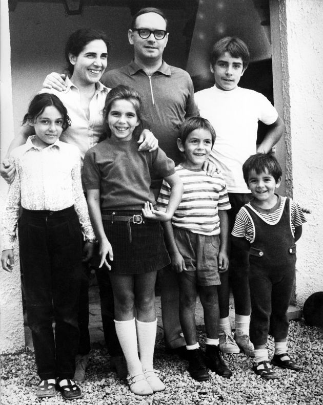 Italian composer, musician, conductor Ennio Morricone with his family: his wife Maria Travia, his sons...