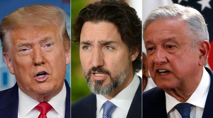 U.S. President Donal Trump, Prime Minister Justin Trudeau and Mexico President Andres Manuel Lopez Obrador are shown in a composite of images from The Canadian Press.