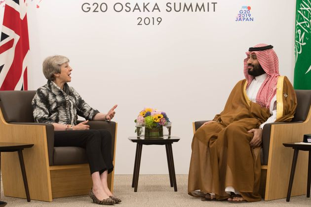 Crown Prince Mohammed bin Salman who ordered the murder ofKhashoggi, meets with Theresa May during...