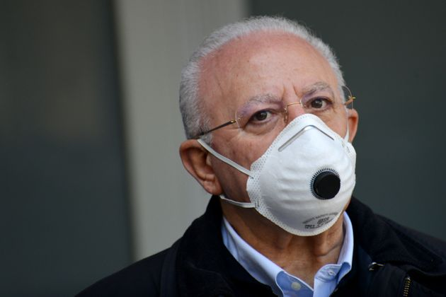 SALERNO, ITALY - MAY 07: Vincenzo De Luca Regione Campania president wearing a mask on May 07, 2020 in...