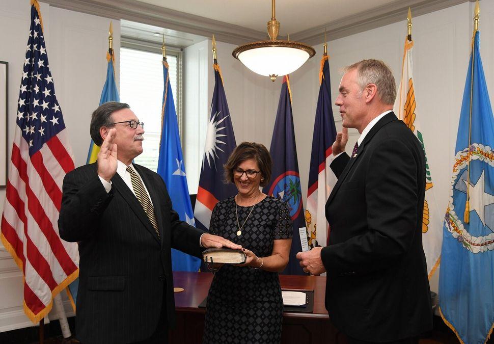 Assistant Interior Secretary Douglas Domenech (left) is a close friend of Interior Secretary David Bernhardt, and has violate