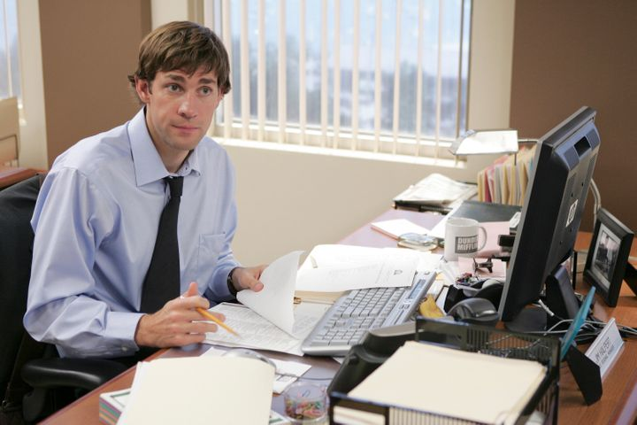 "John Krasinski as Jim Halpert (pre-wig) during the Season 3 episode of ""The Office"" called ""Initiation."""