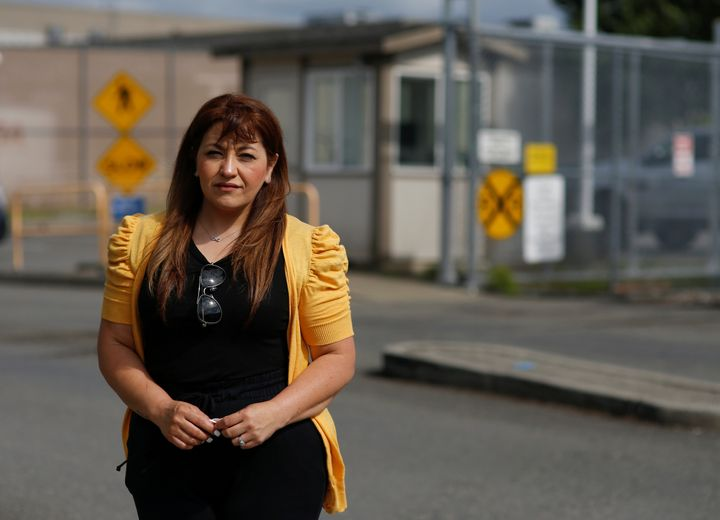 Sandra Videla, whose Guatemalan husband Timoteo Vicente-Chun is detained at the Northwest ICE Processing Center, poses outsid