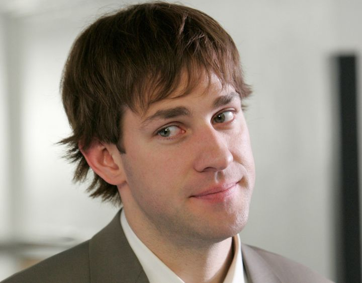 "Krasinski wearing a wig in the 2007 episode ""Product Recall."""