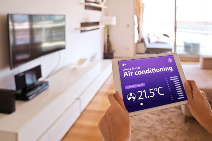 """<a href=""""https://amzn.to/3iAzKK7"""" target=""""_blank"""" rel=""""noopener noreferrer"""">The Sensibo Sky is a smart AC controller</a> that turns any air conditioner into a smart air conditioner."""