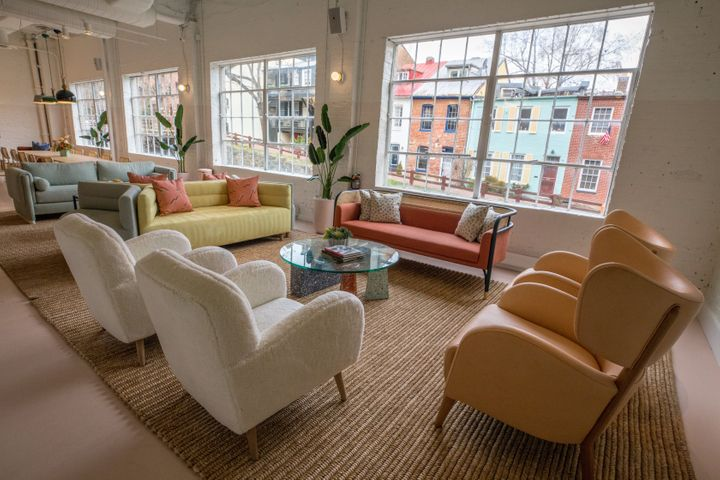 The Wing in Washington, D.C., welcomed members to a soothing setting decorated with pastel couches and potted plants.