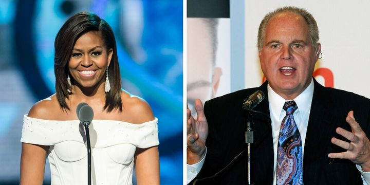 "In 2014, conservative radio host Rush Limbaugh said NASCAR fans booed Michelle Obama for her ""uppity-ism."""