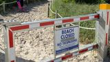 A sign informing about South Beach closure, to prevent the spread of the coronavirus disease (COVID-19), is seen ahead of the Fourth of July weekend, in Miami Beach, Florida, U.S., July 3, 2020.  REUTERS/Elizabeth Feria   REFILE - CORRECTING LOCATION
