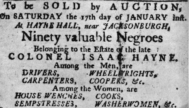 A poster for a January 1850 auction of 90 enslaved people.
