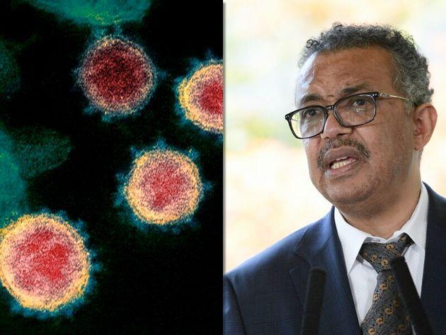 WHOのテドロス・アダノム事務局長(右)と新型コロナウイルス