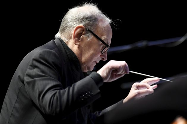 Italian composer Ennio Morricone conducts a concert in Helsinki, Finland, Wednesday Nov. 30, 2016. Oscar...