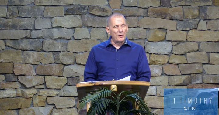Pastor Ron Arbaugh delivers a sermon to congregants at Calvary Chapel of San Antonio on June 21.