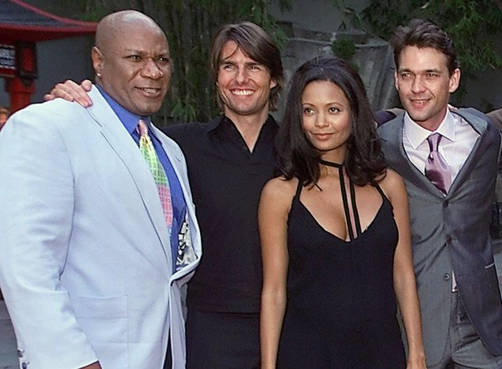 """Cast members of the film, """"Mission: Impossible 2,"""" from left, Ving Rhames, Tom Cruise, Thandie Newton and Dougray Scott, prio"""