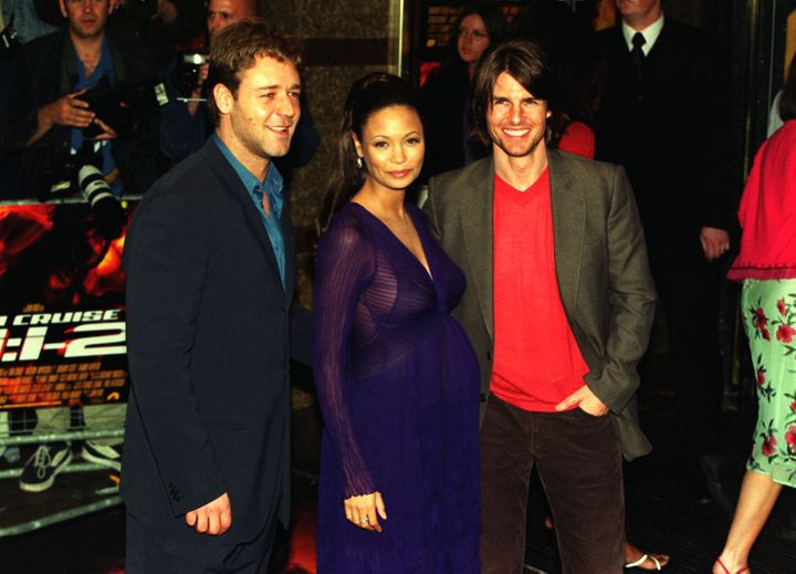 """Tom Cruise, Thandie Newton and Russelll Crowe arrive for the premiere of""""Mission: Impossible 2"""" at the Empire cinema Le"""