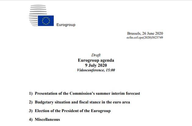 Orden del día previsto para la reunión Eurogrupo del jueves 9 de
