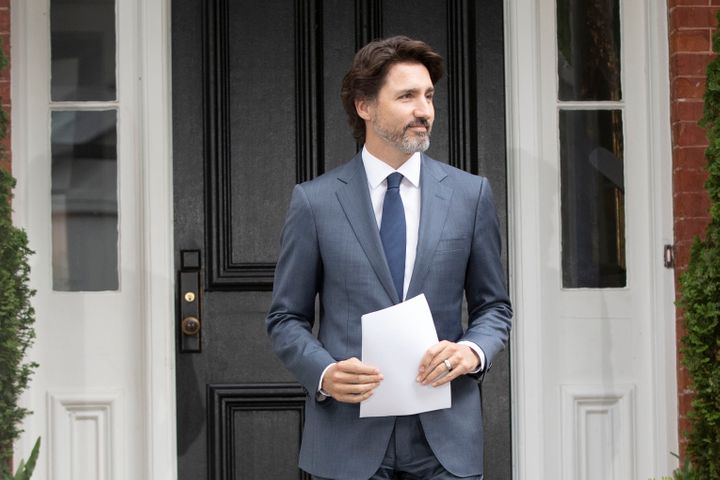 Canadian Prime Minister Justin Trudeau arrives for his daily coronavirus, COVID-19 briefing at Rideau Cottage in Ottawa on June 25, 2020.