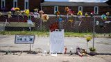 LOUISVILLE, KY - JUNE 06:  General view of a makeshift memorial for David McAtee outside the location where he was shot and killed by police in the early hours of Monday morning on June 6, 2020 in Louisville, Kentucky. This is the 12th day of protests since George Floyd died in Minneapolis police custody on May 25. (Photo by Brett Carlsen/Getty Images)