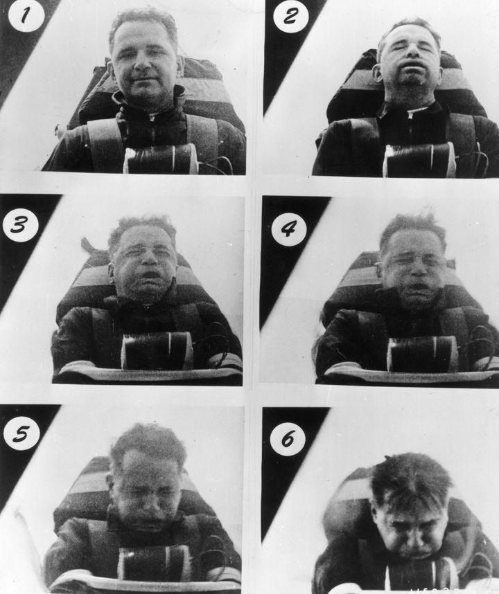 1954년 6월, 존 폴 스탭이 직접 로켓 썰매에서 가속과 감속을 견디는 모습이다.