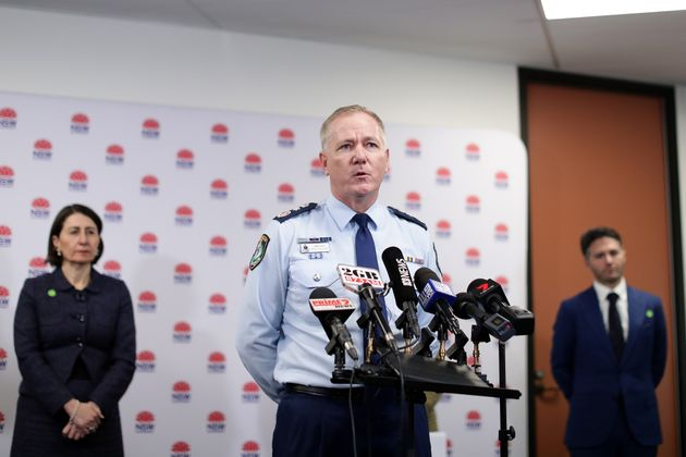 SYDNEY, AUSTRALIA - JULY 08: NSW Police Commissioner Mick Fuller speaks to the media at a press conference...