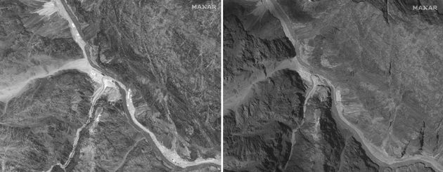 This combination of June 28, 2020, left, and July 6, 2020, satellite images provided by Maxar Technologies...