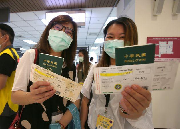 이번 탑승 체험 행사에 참여한 사람들에게는 실제로 탑승권이 발급됐다. 타이베이, 대만. 2020년