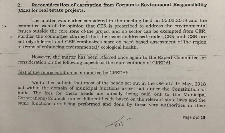 Minutes of the meeting held in May 2019 by the Dr Satish Wate led committee to discuss, among other things, the CREDAI's proposal for a second time about exempting the real estate sector from the obligation to fund Corporate Environment Responsibility activities. Accessed by this reporter under the RTI Act.