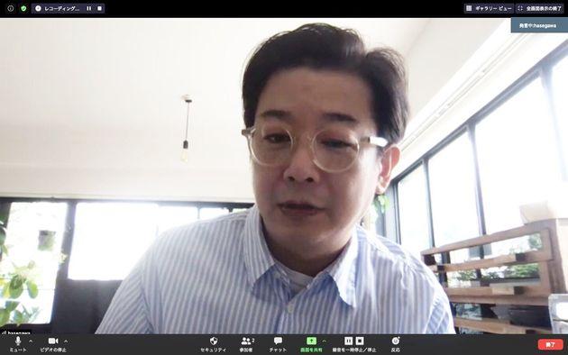Zoomで取材を受ける長谷川踏太さん