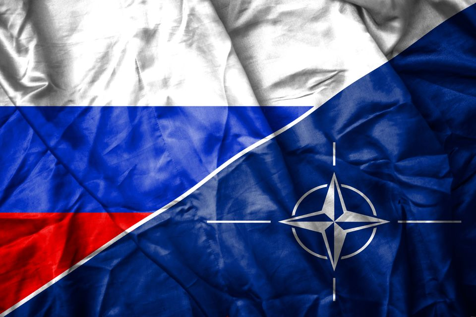 Russain and NATO flag