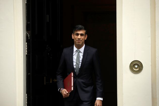 Chancellor of the Exchequer Rishi Sunak leaves number 11 Downing Street, to deliver a financial announcement...