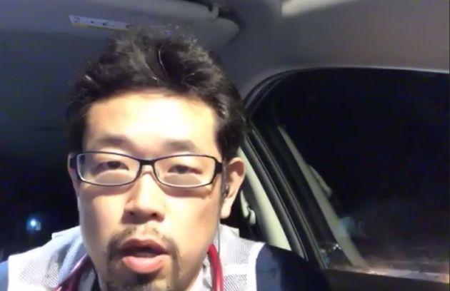 熊本県内の災害現場から状況を報告する医師の稲葉基高さん