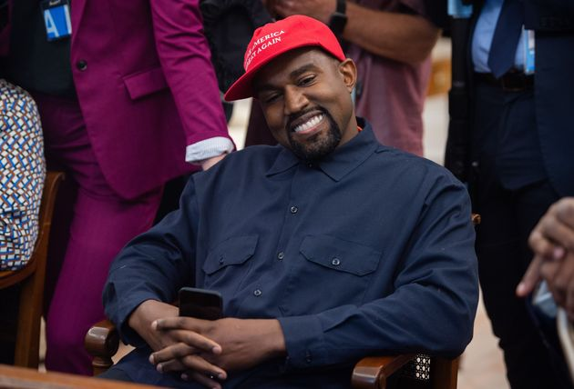 Kanye West sporting a Make America Great Again cap in