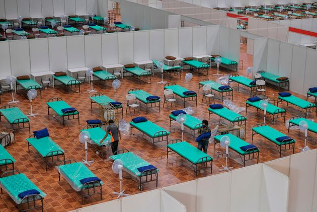 The Covid Care Centre with the capacity of 10,100 beds inside the Bangalore International Exhibition...