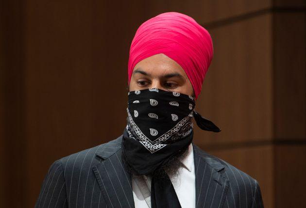 Le chef du Nouveau Parti démocratique Jagmeet Singh s'apprête à donner un point de presse, le 8 juillet...