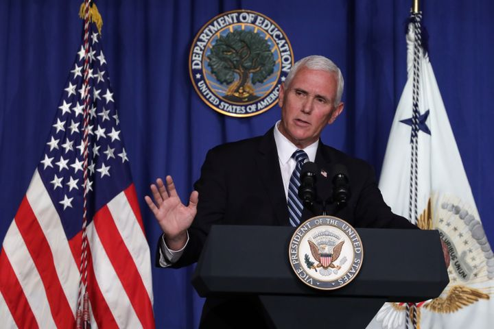 Vice President Mike Pence speaks during a White House coronavirus task force press briefing at the U.S. Department of Educati