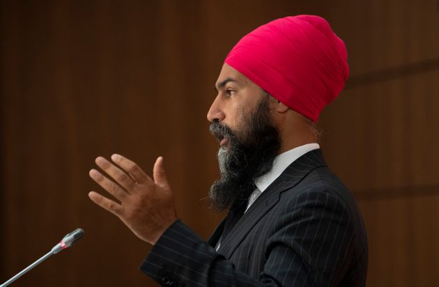 NDP Leader Jagmeet Singh speaks during a news conference on July 8, 2020 in
