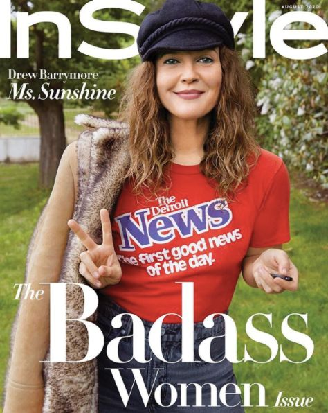 Drew Barrymore on the cover of the August edition of InStyle magazine.