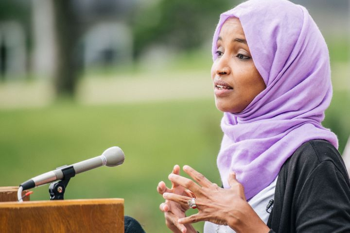 Rep. Ilhan Omar (D-Minn.) speaks at a press conference in St. Paul, Minnesota, on Tuesday. Her outspoken progressive style ha