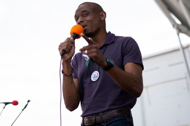Antone Melton-Meaux, an attorney challenging Rep. Omar, speaks at a Juneteenth celebration in Minneapolis....