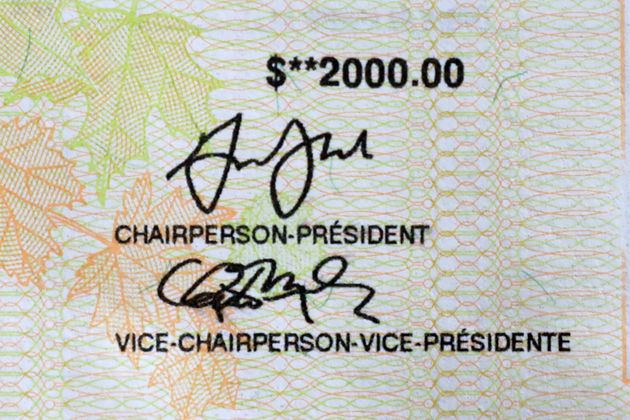 Part of a cheque for the $2,000 Canada Emergency Response Benefit (CERB), a taxable award from the Canadian...