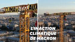 Greenpeace déploie une banderole sur la grande grue de