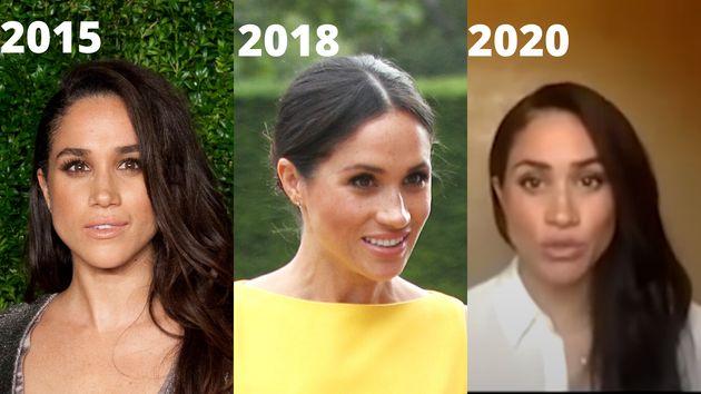 Meghan Markle en 2015, como actriz, en 2018, como miembro de la familia real británica, y en 2020, tras...