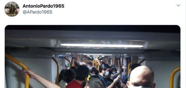 Hacinamiento en el Metro de Madrid en pleno miedo a los