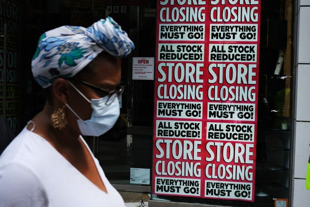 A store advertises a sale on July 7 in Brooklyn, New York. The economic fallout from the coronavirus...