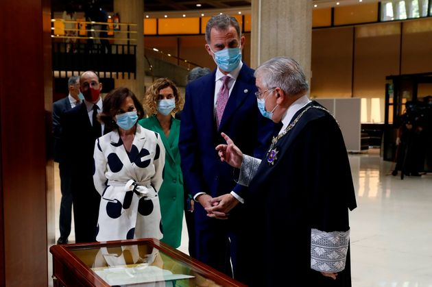 Carmen Calvo junto al rey Felipe VI el 6 de julio de 2020 en el 40º aniversario del