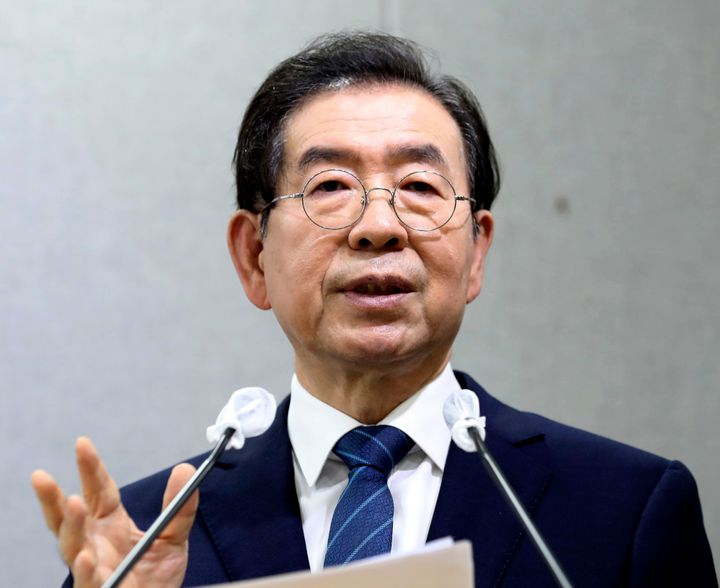 Seoul Mayor Park Won-soon speaks during a press conference at Seoul City Hall in Seoul, South Korea Wednesday, July 8, 2020. (Cheon Jin-hwan/Newsis via AP)