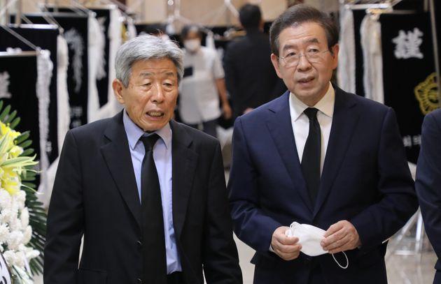 Le maire de Séoul Park Won-soon, ici lors d'une cérémonie funéraire à...